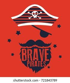 pirates captain vector design for kids fashion