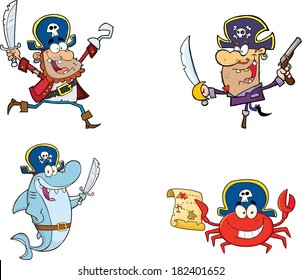 Pirates Cartoon Characters. Vector Collection Set