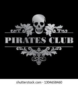 pirates club. vintage skull and leaves illustrative logo template.