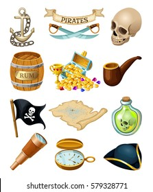 Pirates elements for games. Skull, chest, rum, money, card, hat, roger, anchor. Set isolated vector icons.