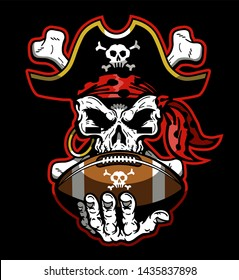 pirates football team design with mascot skull holding ball for school, college or league