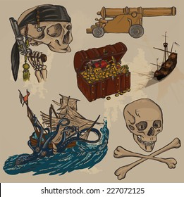 Pirates - An hand drawn colored vector pack no.3. Description: Vector is editable in layers and group of objects. Colored background is isolated.