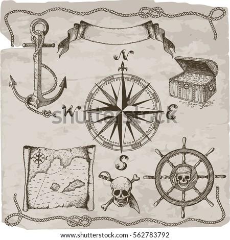 Pirates hand drawn vector