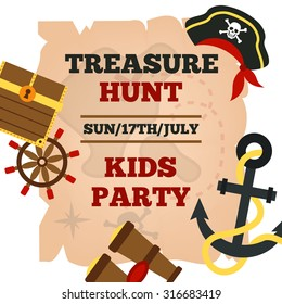 Pirates hunt for treasure adventures kids party announcement poster with time and game accessories abstract vector illustration
