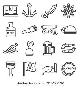 pirates icons set. Sabre, bandanna, hook, treasure chest cannon anchor map rum