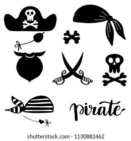 Pirates icons, signs and symbols set. Hat, beard man, sables, bandana, skull and crossbones, Vector doodle illustration isolated on white background