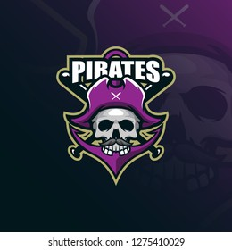 pirates mascot logo design vector with modern illustration concept style for badge, emblem and tshirt printing. skull pirates illustration with a anchor and stick.