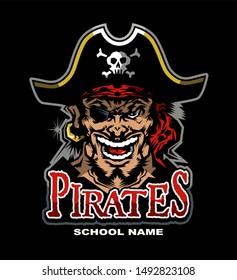 pirates mascot team design for school, college or league