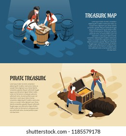 Pirates near treasure map and chest with gold isometric banners isolated on blue beige background vector illustration
