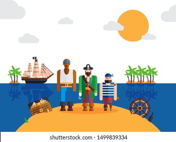 Pirates on desert island, vector illustration. Funny cartoon characters, pirate captain and sailors. Corsairs of the Caribbean lost on a treasure island. Simple piracy background for children story