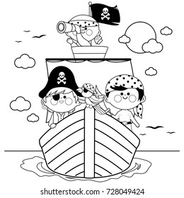 Pirates sailing on a ship at the sea. Black and white coloring book page