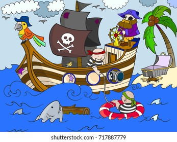 Pirates of the sea on merchant ships and seascape illustration. Zentangle style pirate ship. line of the sea, animals, fish, ostrovbpopugay, shark and people