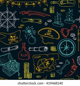 Pirates seamless pattern. Pirate hat swords guns treasure chest black flag jolly roger emblem skull and crossbones pirate costume elements. Isolated  Vector illustration.