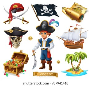 Pirates set. Boy, treasure chest, map, flag, ship, island. 3d cartoon vector icon