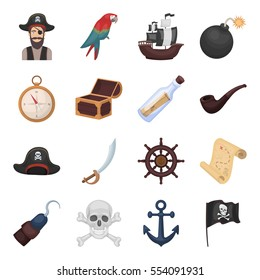 Pirates set icons in cartoon style. Big collection of pirates vector symbol stock illustration