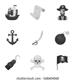 Pirates set icons in monochrome style. Big collection of pirates vector symbol stock illustration