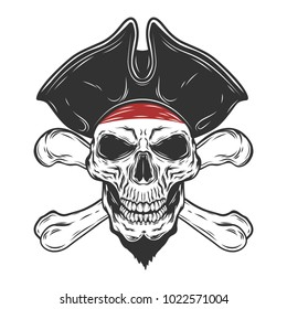 Pirate's Skull isolated on white background.Vector illustration.