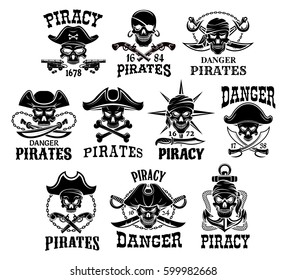 Pirates skulls and Jolly Roger symbols. Captain skeleton in bandana or tricorne hat with patch on eye. Vector icons of piracy robbers flag with anchor or cannon gun, crossed swords and pistols