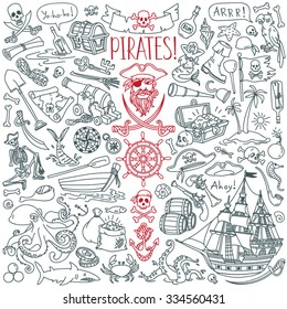 Pirates themed freehand drawings set. Symbols of piracy - hat, swords, guns, treasure chest, ship, black flag, jolly roger emblem, skull and crossbones, compass, costume elements.