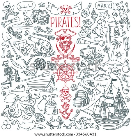 Pirates themed freehand drawings