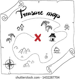 pirates treasure map hand drawn cartoon black ink isolated on white , palms at uninhabited island cross sign way search gold chest , rose of wind compass north at sea or ocean , vector illustration