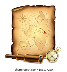 Pirates treasure map with spyglass and compass vector illustration