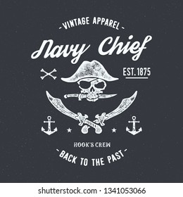 Pirates typography. Vintage vector t-shirt and apparel design, print, logo, poster. Vector