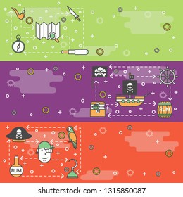 Pirates vector web banner template set. Pirate hat, ship, treasure chest, flag, rum barrel, spyglass, skull and bones, map, compass, parrot steering wheel, hook, smoke pipe thin line art flat icons.