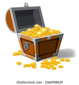Piratic trunk chests with gold coins treasures. . Vector illustration. Catyoon style, isolated
