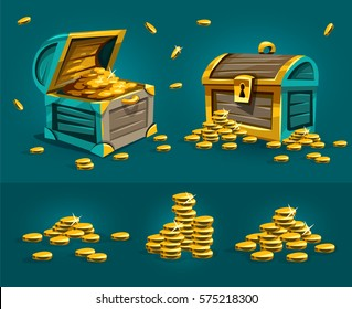 Piratic trunks chests with gold coins treasures in old boxes. Money open and closed ancient pirate for storage. Vector illustration