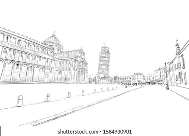 Pisa Cathedral. Leaning tower of Pisa. Pisa. Italy. Hand drawn sketch. Vector illustration.