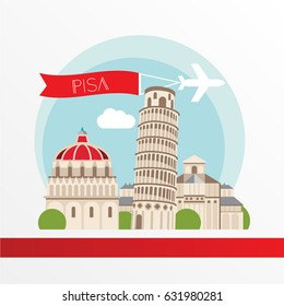 Pisa detailed silhouette. Trendy stylish colorful landmarks. The concept for a web banner. Piza tower - The symbol of Tuscany, Italy