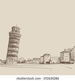 Pisa. Italy. Hand drawn, vector illustration