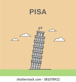 Pisa Leaning Tower in Italy. Italian landmark vector illustration.