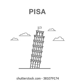 Pisa Leaning Tower in Italy. Italian landmark illustration made in line art style.