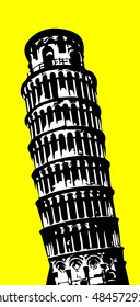 Pisa tower on yellow background vector
