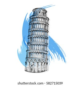 Pisa tower sketch vector illustration