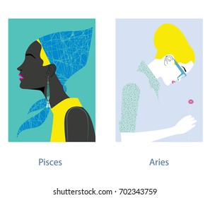 Pisces and aries female horoscope signs. Vector illustration.