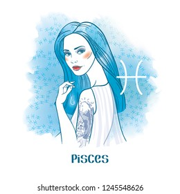Pisces astrological sign. Beautiful girl with koi fish tattoo and fishhook in hand. Watercolor background