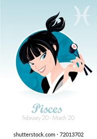 Pisces  astrological sign. Vector illustration