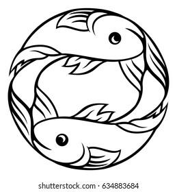 A Pisces fish horoscope astrology zodiac sign symbol