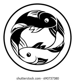 A Pisces fish horoscope astrology zodiac sign icon