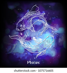 Pisces, fishes, Zodiac sign. Astrological horoscope collection. White on dark  blue and ultra violet space  background. Vector illustration