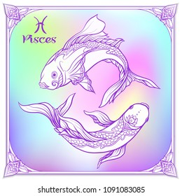 Pisces, fishes, Zodiac sign. Astrological horoscope collection. Violet on soft ultra violet space  background. Vector illustration