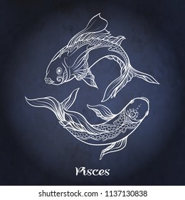 Pisces, fishes, Zodiac sign. Astrological horoscope collection. White on dark  blue, black space  background. Vector illustration