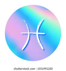 Pisces Horoscope Icon Round Holographic Zodiac Stock Vector Royalty Free 1551991250