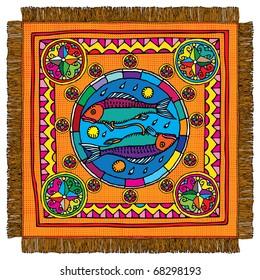 Pisces horoscope sign carpet