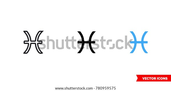 Pisces Icon 3 Types Color Black Stock Vector (Royalty Free
