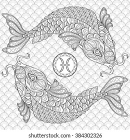 Pisces. Koi fish. Chinese carps. Adult antistress coloring page. Black and white hand drawn doodle for coloring book