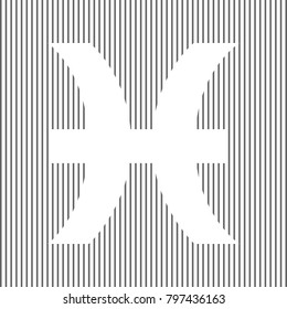 Pisces sign illustration. Vector. White icon on grayish striped background. Optical illusion.